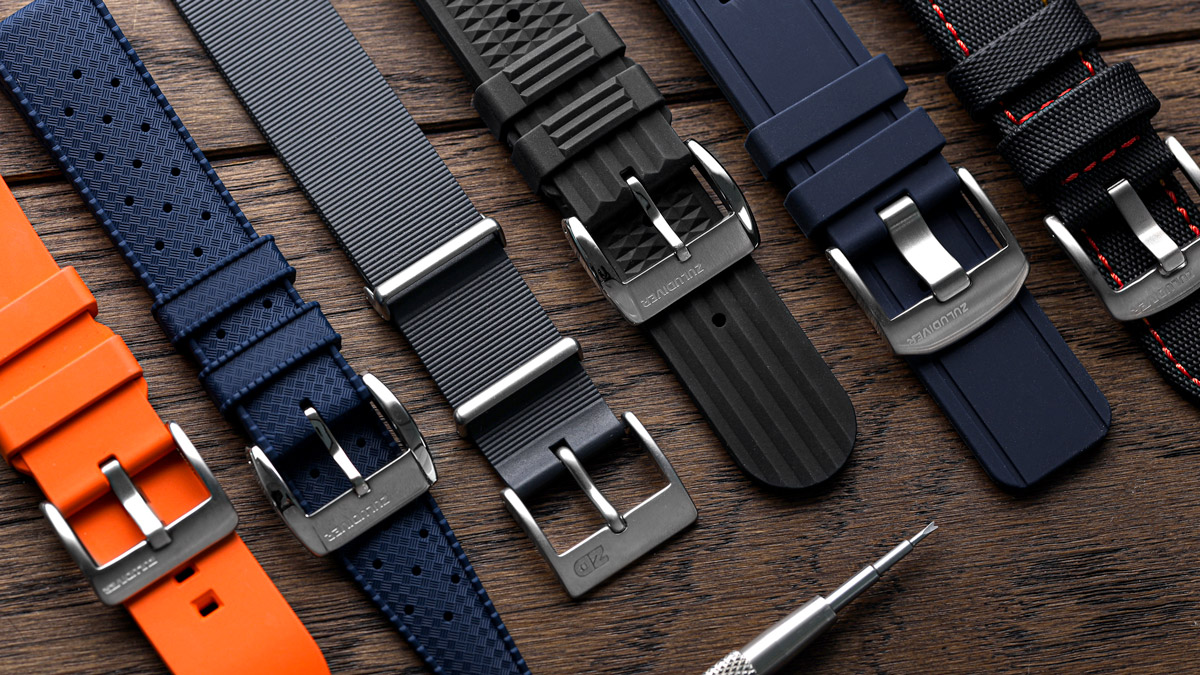 a selection of rubber watch straps