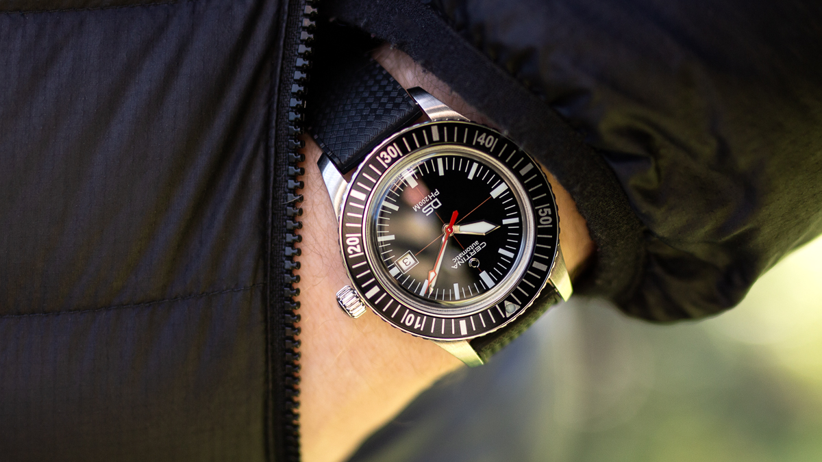the Certina DS PH200M on a black rubber tropic watch strap from ZULUDIVER