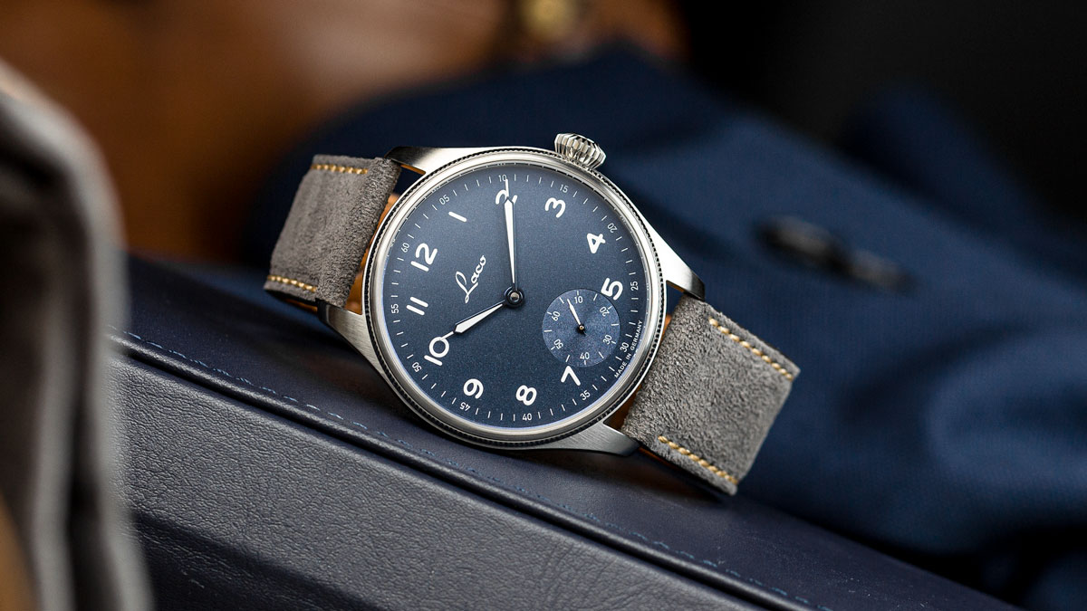 The Laco 95 on a grey suede watch strap from watchgecko
