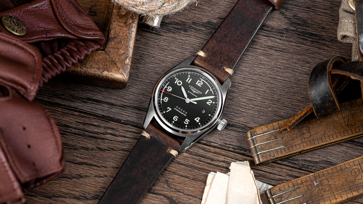 The Longines Spirit on a dark brown leather strap from watchgecko