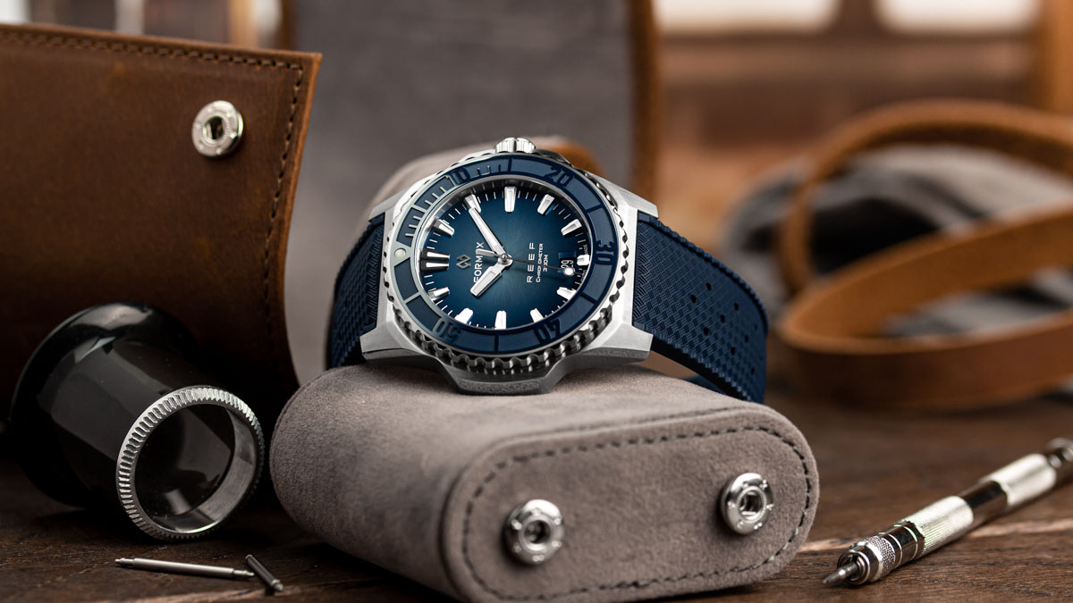 The Formex Reef on a blue Tropic rubber watch strap