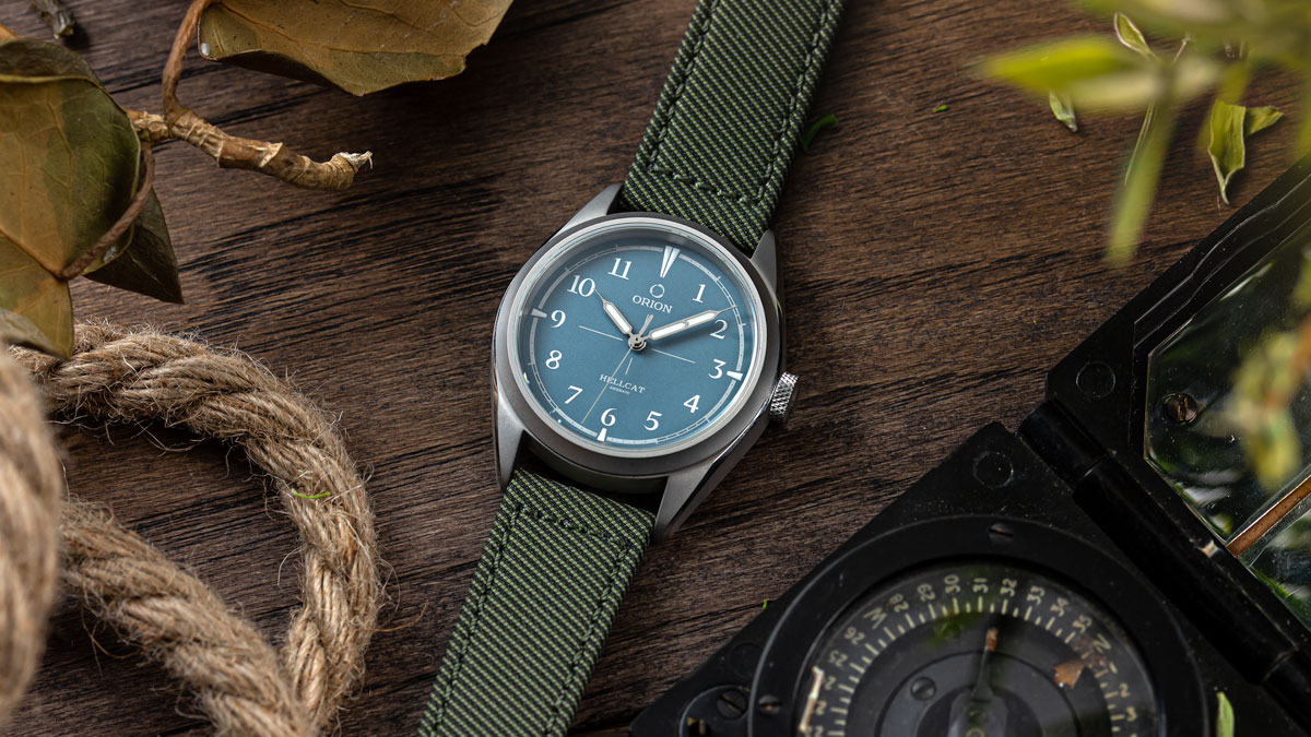 The Orion Hellcat on the Corfinio Gabardine Recycled Fabric Strap