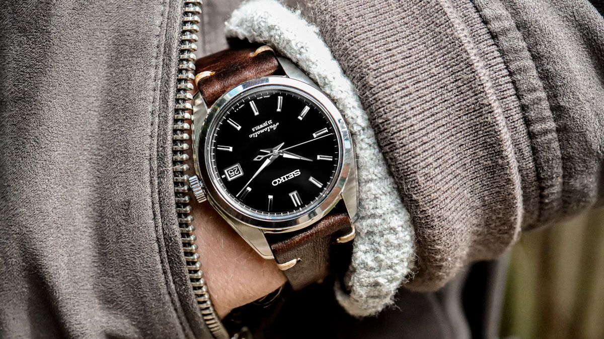 the Seiko SARB033 watch on a dark brown leather strap from WatchGecko