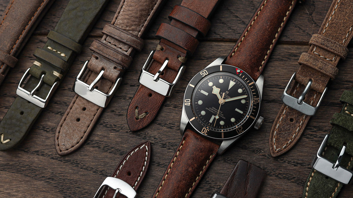 the Tudor Black Bay 58 divers watch with a selection of leather watch straps from WatchGecko
