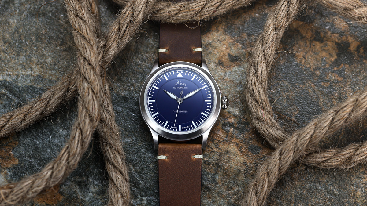 The Blue Eza AirFighter Pilots Watch fitted to a brown leather strap