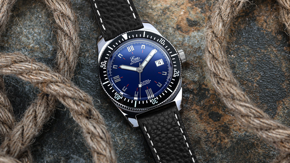The Blue Eza 1972 Dive Watch fitted to a black leather strap