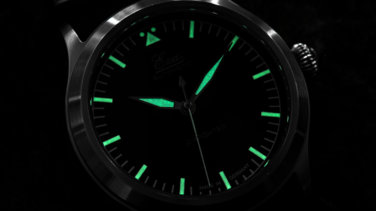 The lume from the Eza AirFighter Pilots Watch